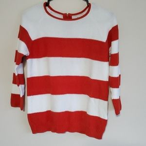 Alfred Sung 100% cotton sweater striped back zip